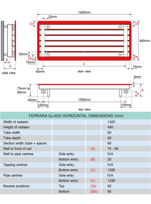 Apollo Ferrara Red Glass 1420 x 500mm Stainless Steel Horizontal Radiator