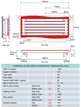 Apollo Ferrara 1420 x 570mm Red Glass Wave Horizontal Radiator