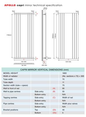 Apollo Capri Vertical Radiator With Mirror Chrome 600 x 1800mm