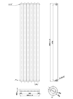 Phoenix Orla Tall 450 x 1800mm Chrome Designer Radiator