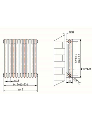 Phoenix Nicole Horizontal 544 x 600mm White 3 Column Radiator