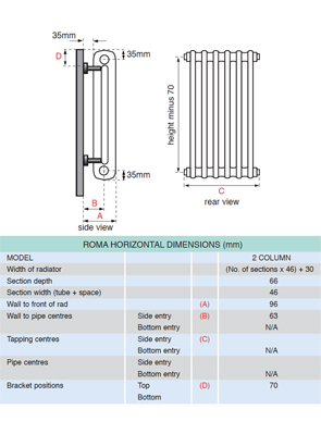 Apollo Roma 2 Column 600 x 750mm Horizontal Steel Radiator