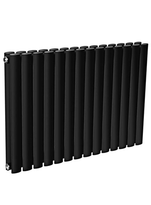 Reina Neva Horizontal Black Double Panel Designer Radiator 1180 x 550mm
