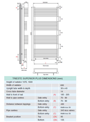 Apollo Trieste Superior Plus Towel Warmer 600 x 1070mm Chrome