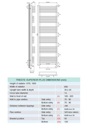 Apollo Trieste Superior Plus Towel Warmer 600 x 1600mm Chrome