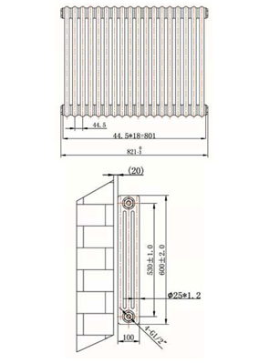 Phoenix Nicole Horizontal 821 x 600mm White 3 Column Radiator