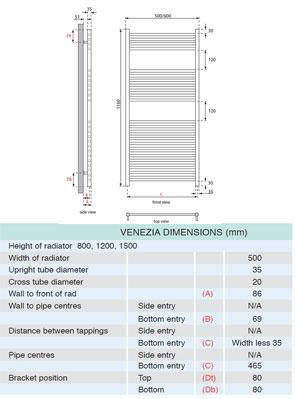 Apollo Venezia Contemporary Towel Rail 500 x 1200mm Chrome