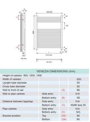 Apollo Venezia Contemporary Towel Rail 600 x 800mm Chrome