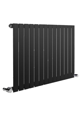 Reina Neva Horizontal Black Single Panel Designer Radiator 413 x 550mm