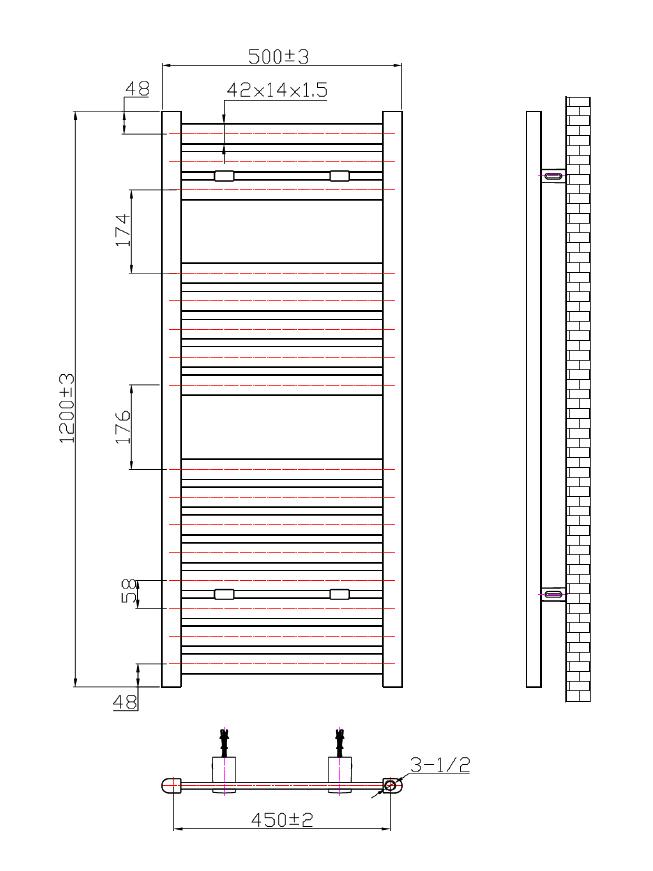 Phoenix Ascot 500 X 1200mm Chrome Designer Heated Towel Rail