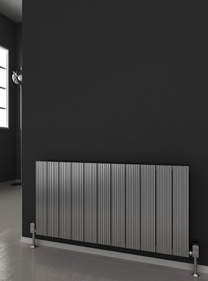 Reina Enzo Polished Aluminium Horizontal Radiator 660 x 600mm