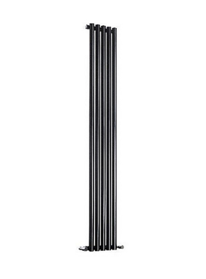 Reina Round Single Black Designer Radiator 295 x 1800mm