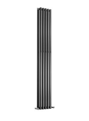 Reina Round Double Black Designer Radiator 295 x 1800mm