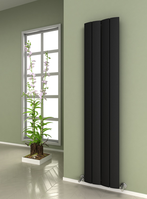Reina Evago Black Aluminium Vertical Radiator 375 x 1800mm