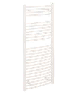 More info Reina Diva Curved 450 x 1200mm White Thermostatic Electric Towel Rail