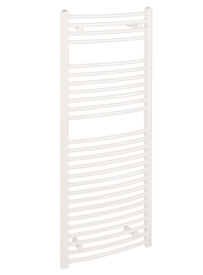 Reina Diva Curved 450 x 1200mm White Thermostatic Electric Towel Rail