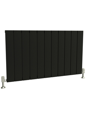 Reina Savona Horizontal Black Aluminium Radiator 660 x 600mm