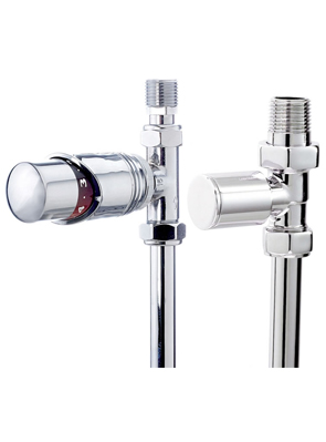 Phoenix Thermostatic Straight And Plain Chrome Radiator Valves