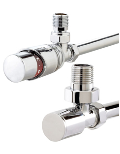 More info Phoenix Thermostatic Angled And Plain Chrome Radiator Valves
