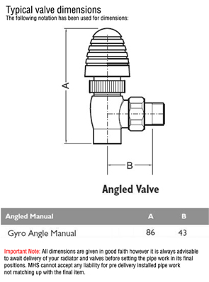 MHS Gyro Chrome Plated Angled Manual Radiator Valves