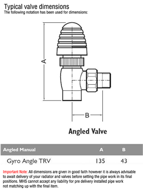 MHS Gyro Angled Thermostatic Radiator Valve With MHS Chrome Head