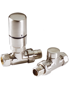 Related MHS Radius Straight Thermostatic Radiator Valves With Satin Head