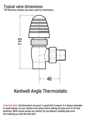 MHS Kentwell Angled Thermostatic Radiator Valves Polished Brass