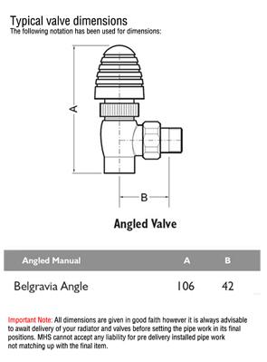MHS Belgravia Chrome Plated Angled Radiator Valves Pair