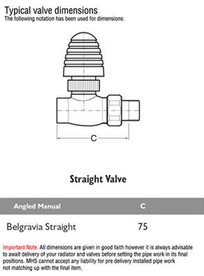 MHS Belgravia Chrome Plated Straight Radiator Valves Pair