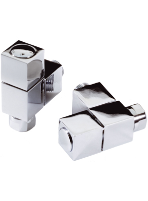 MHS Tekne Angled Manual Chrome Radiator Valves