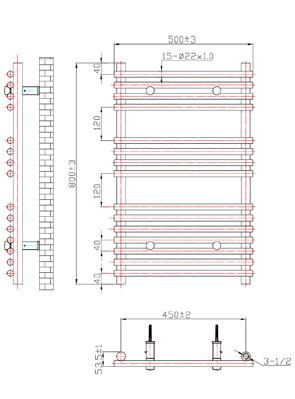 Phoenix Demi 500 x 800mm Chrome Designer Heated Towel Rail