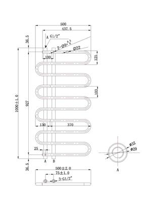 Phoenix Lizi 500 x 1000mm Designer Heated Towel Rail