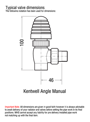 MHS Kentwell Angled Manual Radiator Valves Chrome