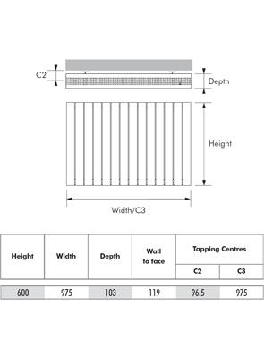MHS Velocity Horizontal White Designer Radiator 975 x 600mm