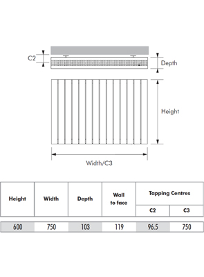 MHS Velocity Horizontal White Designer Radiator 750 x 600mm