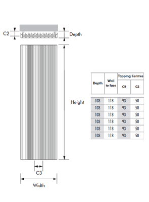 MHS Bryola 450 x 1600 White Aluminium Vertical Designer Radiator
