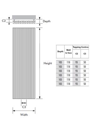 MHS Bryola 600 x 1600 White Aluminium Vertical Designer Radiator