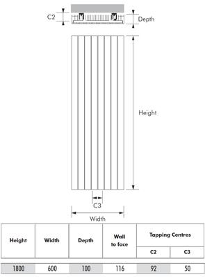MHS Velocity Vertical White Designer Radiator 600 x 1800mm