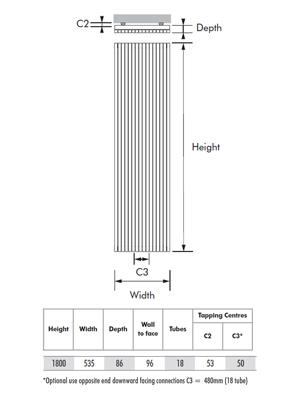 MHS Carissa White Vertical Designer Radiator 535 x 1800mm