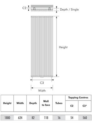 MHS Zenon Vertical Single White Designer Radiator 624 x 1800mm