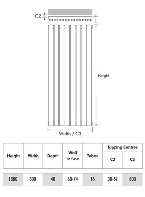 MHS Ellis White Vertical Designer Radiator 800 x 1800mm
