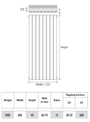MHS Ellis Anthracite Vertical Designer Radiator 600 x 1800mm