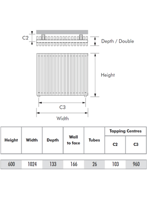 MHS Zenon Line Horizontal Double Anthracite Designer Radiator 1024 x 600mm