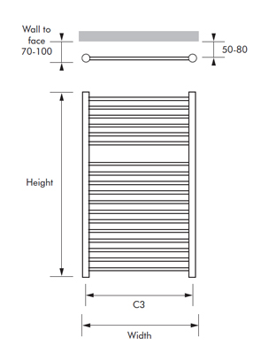 MHS Alara Straight Dual Fuel Towel Rail 600 x 1200mm