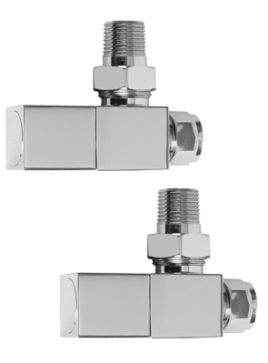 SBH Square Angled Chrome Radiator Valves
