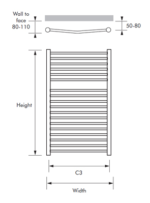 MHS Alara Curved Dual Fuel Heated Towel Rail 600 x 720mm