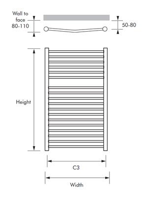 MHS Alara Curved Dual Fuel Heated Towel Rail 500 x 1500mm