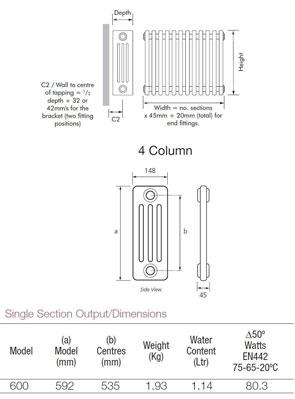 MHS Multisec Anthrasec Steel Radiator 135 x 492mm 4 Column 3 Section