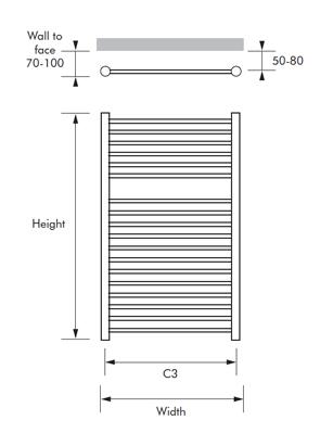 MHS Alara Polished Stainless Steel Straight Towel Rail 350 x 720mm