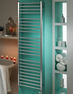 More info MHS Java Polished Stainless Steel Heated Towel Rail 350 x 800mm